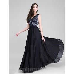 Australia Formal Dress Evening Gowns Black A-line V-neck Long Floor-length Chiffon Lace